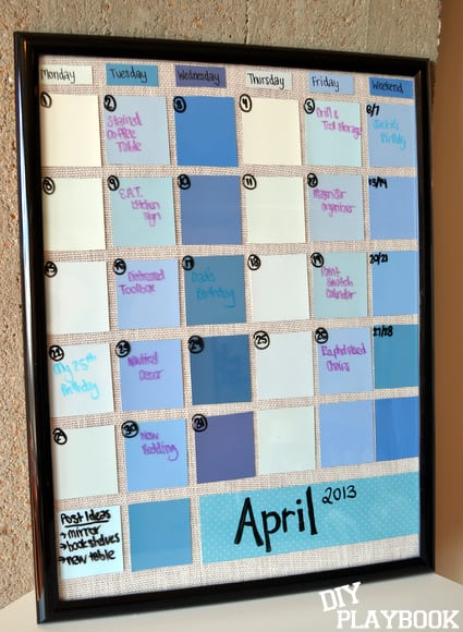 Diy Calendar Frame : Paint swatch calendar diy playbook