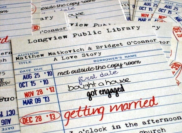 Library Card Inspired Save The Dates
