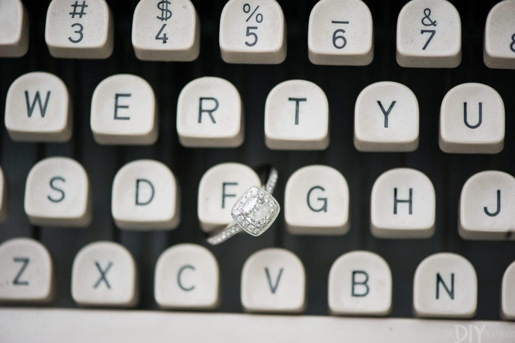 Engagement ring on a typewriter
