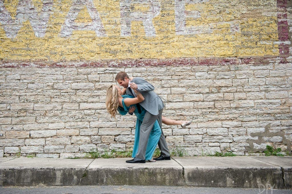 Dancing during engagement photos