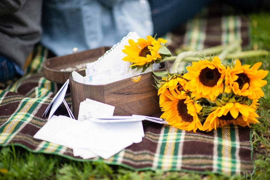 Box of love letters in an engagement photo shoot