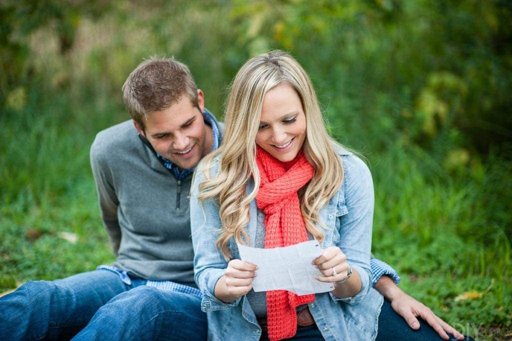 Reading love letters for engagement photos