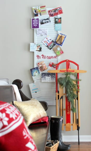 This renovated shutter board is great for displaying Christmas cards.