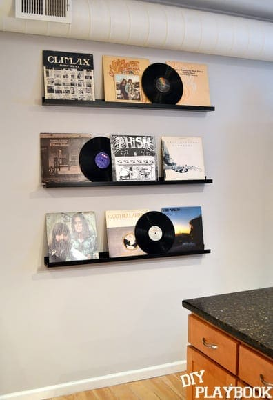 The record album wall in Ryan's apartment