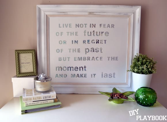 Homemade canvas art with an inspiring quote