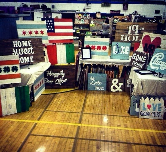 Craft fairs are full of creative pallet art signs