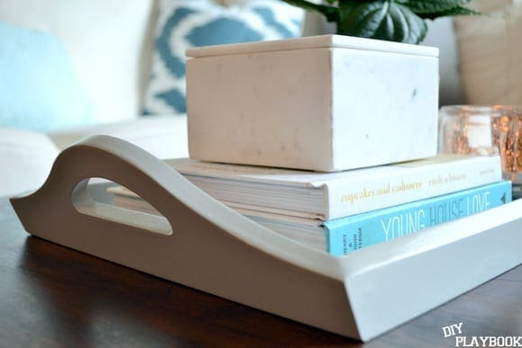 A coffee table tray like this is great for books and storage.