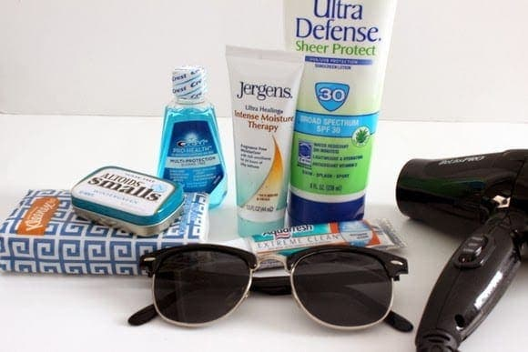 Pickup extra sunglasses and sunscreen