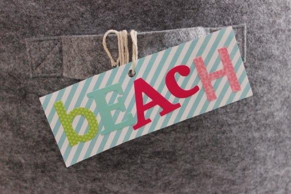 Make a cute label that says beach