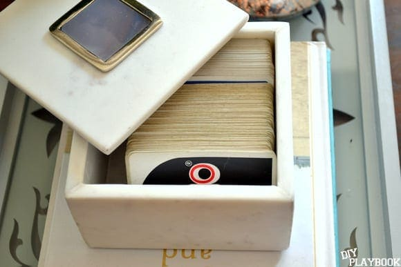 This West Elm marble box is great for storing card games.