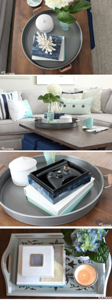 Styling your coffee table starts with a decorative tray.