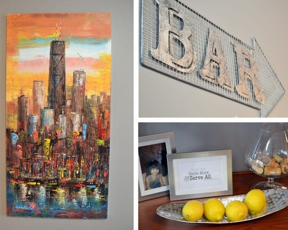 This collection of decor pieces from a bar sign to city artwork adds to the man cave.