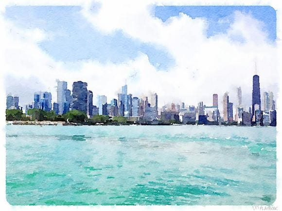 Free printable of the Chicago skyline watercolor