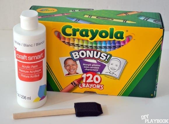 crayons and white paint