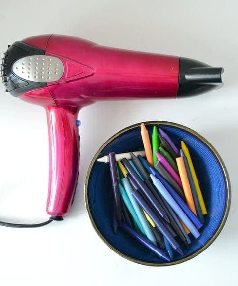 hair dryer and crayons