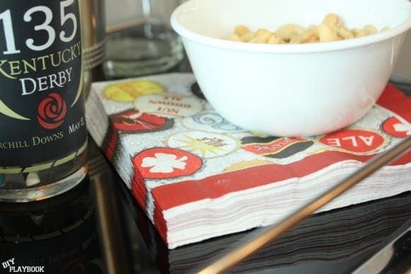 Mini napkins and a snack go great on bar carts.