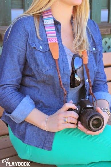 A fun camera strap on a DSLR camera