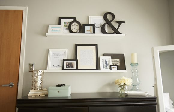 These shelves are great for displaying pictures and artwork.