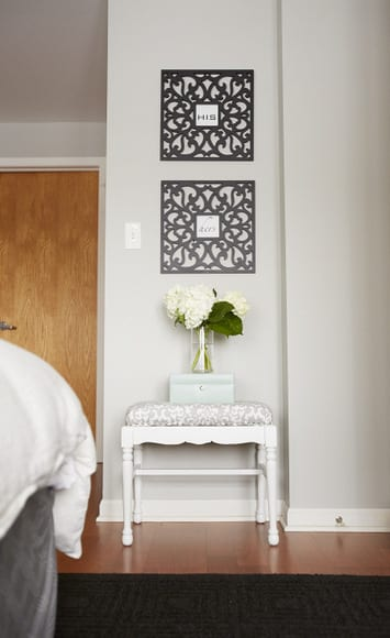 This his and hers wall art is elegant and chic.