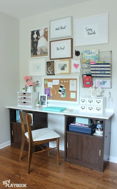 DIY office desk with gallery wall.