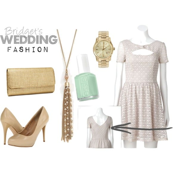 Bridget's wedding fashion inspiration board featuring gold accessories is chic.