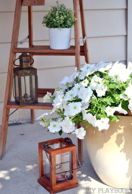 This vintage ladder is great for holding flowers.