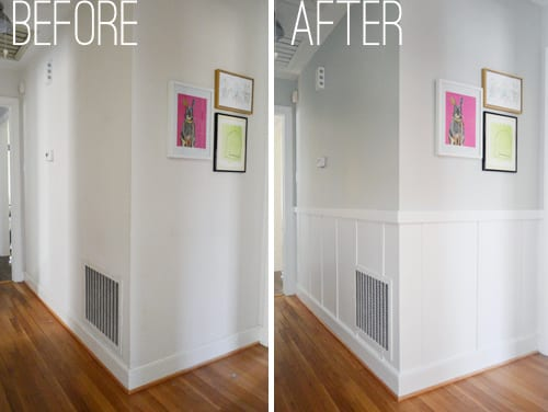 Before and after we added a hallway board and batten