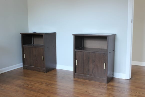 We found these two simple cabinets at Goodwill.
