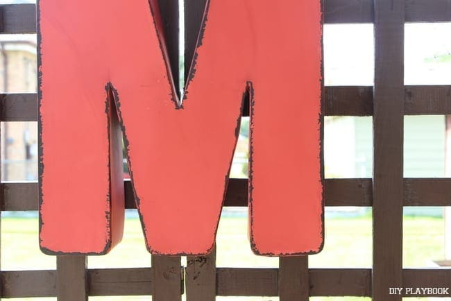 This M sign is colorful and water resistant.