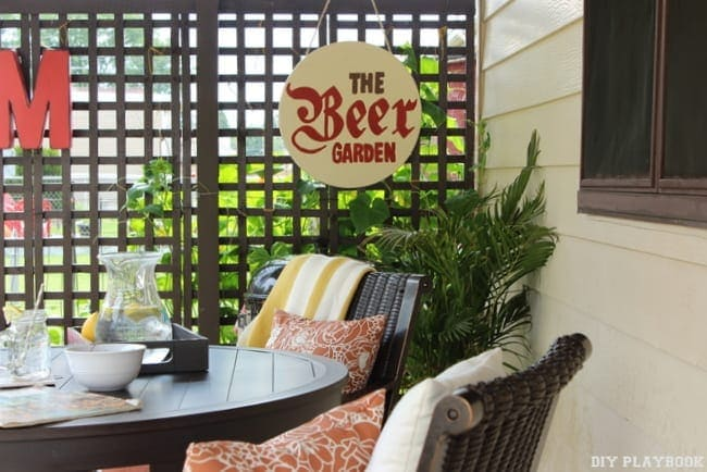 "This re-done patio with a ""Beer Garden"" sign is adorable."