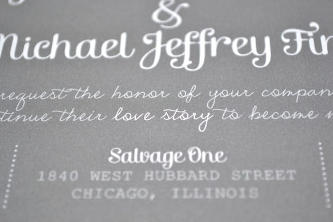 Wedding invitations with a simple, readable font