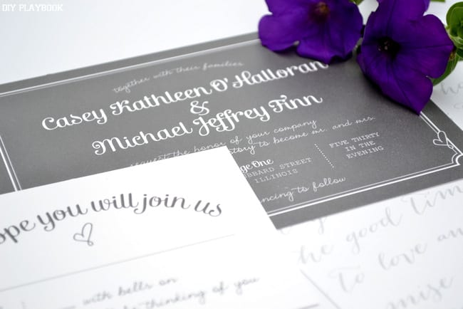 Casey and Finn's special custom wedding invitations