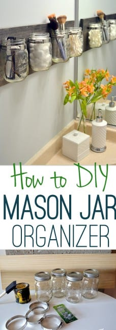 This step by step tutorial will help you easily make a DIY mason jar organizer.