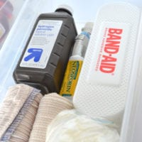 A special clear box with first aid kit essentials is helpful.