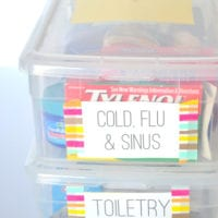 Labels on every box help you find medicines or toiletries quicker.