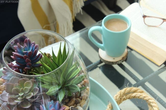The succulents are great coffee table decor.