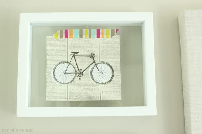This bicycle wall decor is one of a kind and adds a vintage element to the laundry room.