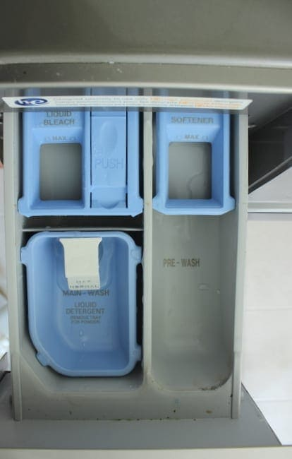 The laundry detergent, bleach and softener area of your machine also needs to be cleaned.
