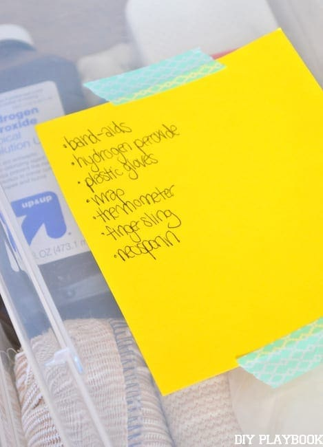Add labels to your clear boxes with a list of medicines on top.