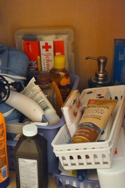 A messy cabinet makes it hard to find medicines or essentials when you need them.