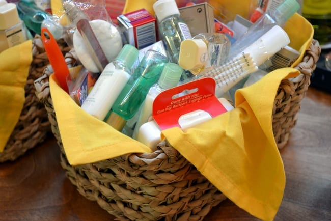 Make a toiletry basket for your bachelorette trip