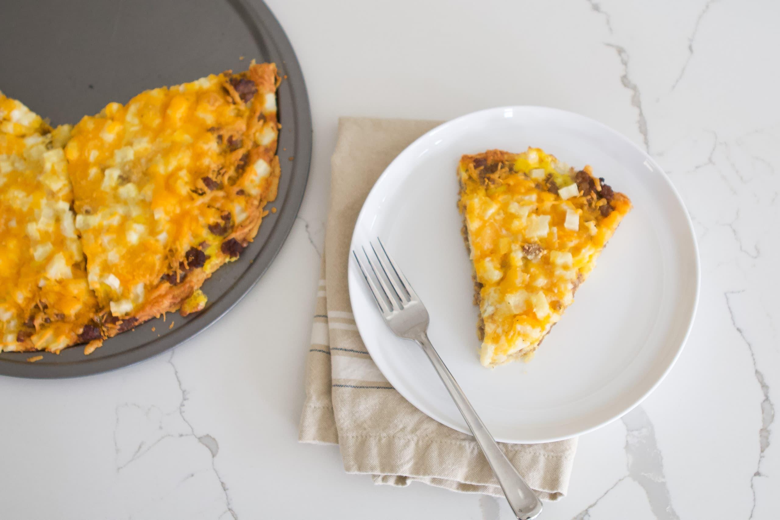 Our family favorite cheesy breakfast pizza recipe