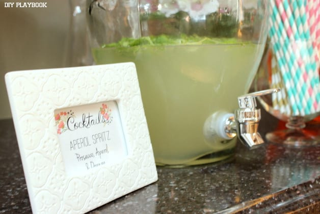 This custom spritz cocktail is a fun addition to the bridal shower beverages.