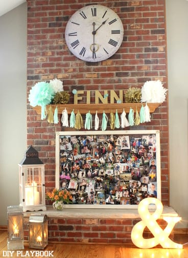Bridal shower display with pictures and gold letters