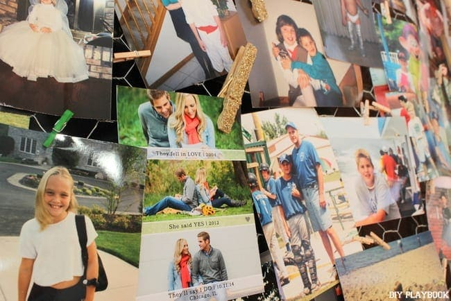 This picture board is filled with old and new memories of the engaged couple.