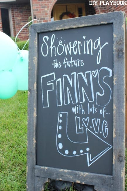 This cute chalkboard sign adds character to the bridal shower.