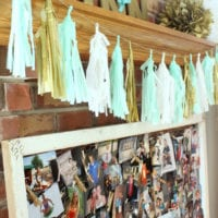 This DIY tissue garland adds color to the bridal shower.