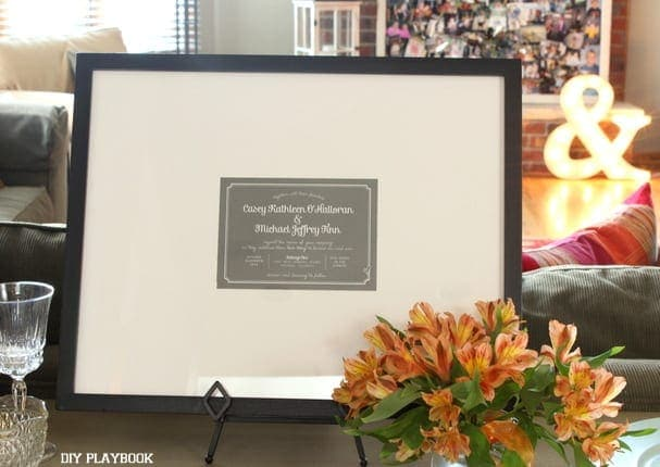 This framed wedding invitation adds sentiment to the bridal shower.