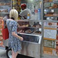 Bridget grabs a bite at a NYC food truck.