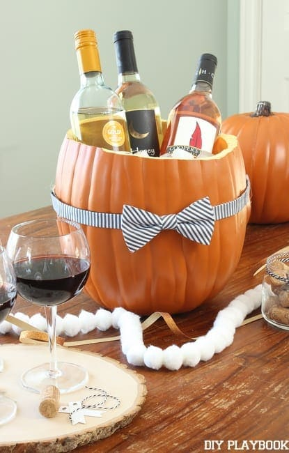 Pumpkin wine cooler for Halloween party